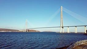 海洋风景有俄国桥梁的看法在天际的 影视素材