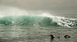 海浪与飞溅在日出 免版税图库摄影