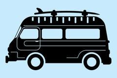 海浪公共汽车剪影 库存照片