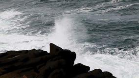 海浪和熔岩岩石岸Depoe海湾俄勒冈快动作 股票录像