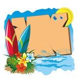 海浪和牌 免版税库存照片