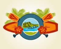 海浪和独木舟象征 免版税库存图片