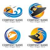 海浪喷气机滑雪概念商标 免版税图库摄影
