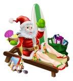 海浪夏天圣诞老人 免版税库存图片
