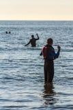 海浪救护设备海滩抢救训练 免版税库存照片