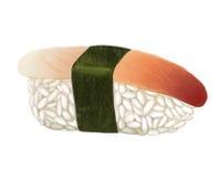 海浪蛤蜊hokkigal寿司用米、鱼和海藻在白色背景 免版税库存图片