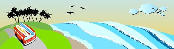 海浪行程沿海。 库存例证