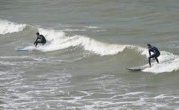 海浪骑马在台湾。 免版税图库摄影