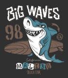 海浪鲨鱼T恤杉印刷品设计,传染媒介例证 免版税图库摄影