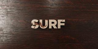海浪-在槭树的脏的木标题- 3D回报了皇族自由储蓄图象 免版税图库摄影