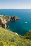 黑海海岸春天视图  库存图片