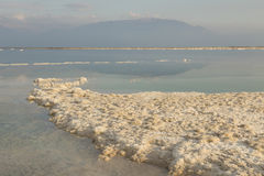 死海海岸线的风景视图 停止的以色列海运 免版税图库摄影