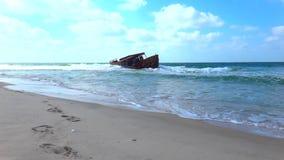 海海滩在中东和有趣的旅游业里 股票视频