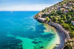 海海滩在阿拉尼亚,土耳其 库存图片