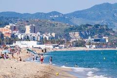 海海滩在巴达洛纳,西班牙 免版税图库摄影