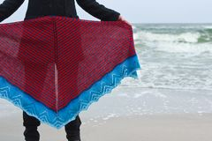 海海滩展示的女孩编织了披肩 库存图片