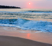 海海滩日出视图(保加利亚) 库存照片