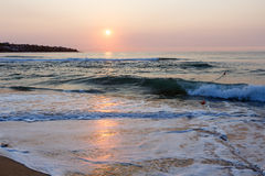 海海滩日出视图(保加利亚) 库存图片