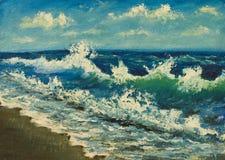 海海滩,在帆布的美丽的波浪油画  海滨 库存照片