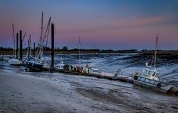 海港口的伯纳姆太阳落山的 免版税库存照片