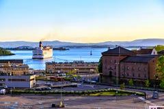 海湾、口岸和船,奥斯陆,挪威 图库摄影