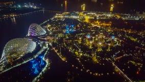 滨海湾公园夜视图在新加坡 免版税库存照片