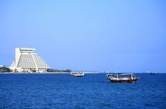 海湾单桅三角帆船多哈卡塔尔 图库摄影