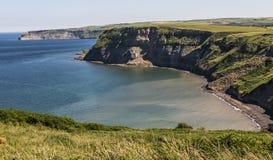 海湾和峭壁临近口岸Mulgrave, N Yorks,英国 免版税库存照片