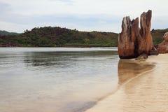 海湾和海岸与岩石 海岛Curieuse,塞舌尔群岛 免版税图库摄影