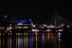 海湾和Zakim桥梁在波士顿, 库存照片
