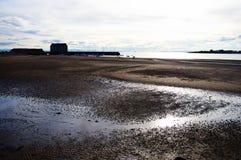 海湾在苏格兰,空的海滩 库存图片