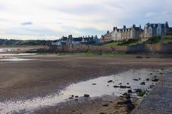 海湾在苏格兰,空的海滩 图库摄影