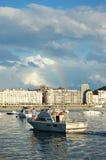 海湾外耳重新创建San Sebastian船 库存图片