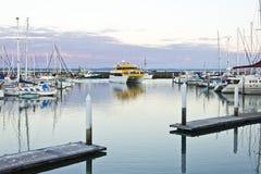 海湾小船返回到注意的鲸鱼的hervey海滨 免版税库存图片