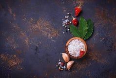 海湾小豆蔻大蒜草本叶子胡椒迷迭香盐加香料香草 烹饪的背景 免版税库存照片