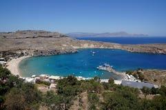 海湾希腊海岛lindos罗得斯 罗得岛,希腊 免版税库存照片