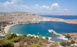 海湾希腊lindos罗得斯 库存照片