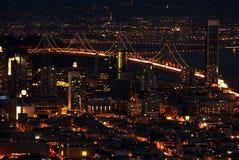 海湾桥梁弗朗西斯科晚上圣 图库摄影