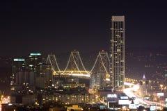 海湾桥梁晚上 免版税图库摄影