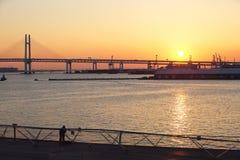 在日出的海湾桥梁在横滨,日本 免版税库存图片