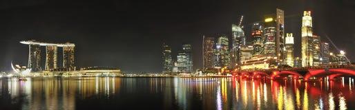 海湾横向都市海滨广场的全景 库存图片