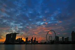 海湾海滨广场新加坡日落 免版税库存图片