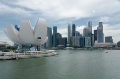 海湾海滨广场铺沙新加坡江边 免版税库存照片