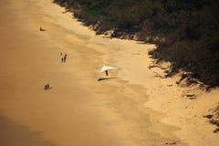 海湾海滩byron滑翔机吊着陆 免版税图库摄影