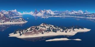 海湾的海岛 库存图片