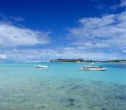 海湾蓝色海岛盐水湖毛里求斯 库存图片