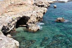 海湾视图在Cala Ratjada 图库摄影