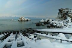 冻海湾 免版税库存图片