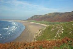 海湾clifftop rhossili视图 免版税库存照片