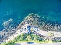 海湾Creran鸟瞰图由海湾Creran桥梁的 图库摄影